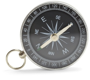 Magnetic Compass on Side Isolated on White Background.